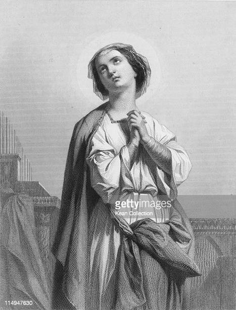 Engraving depicting Saint Cecilia of Rome patron saint of musicians circa 178