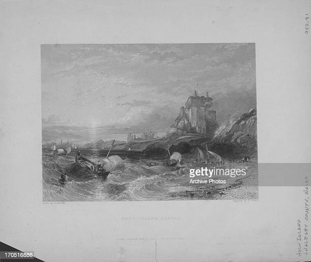 Engraving depicting scenes of the British landscape Holy Island Anglesey Wales