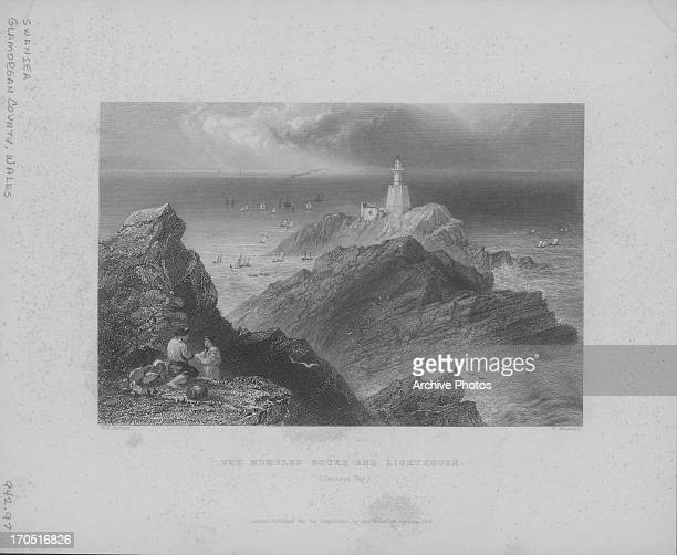Engraving depicting scenes of the British landscape Mumbles Rocks and lighthouse Swansea