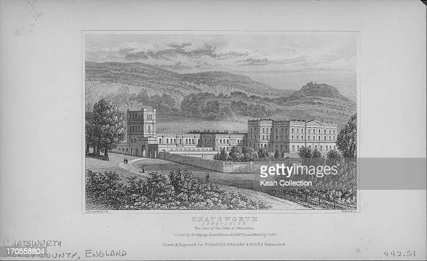 Engraving depicting scenes of the English landscape; Chatsworth House, Derbyshire.