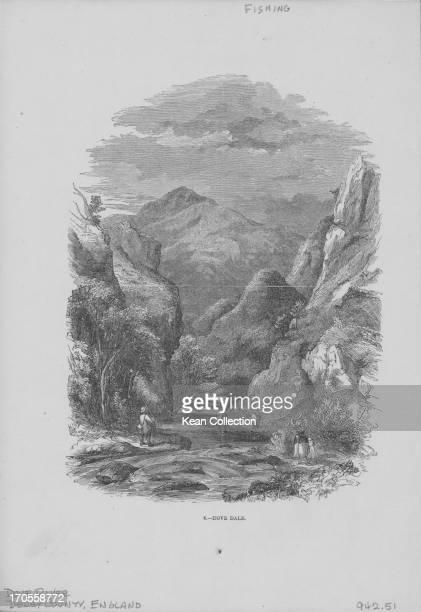 Engraving depicting scenes of the English landscape Dove Dale Derbyshire