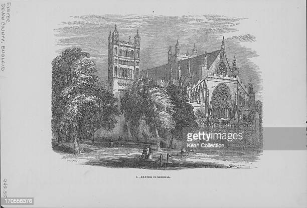 Engraving depicting scenes of the English landscape Exeter Cathedral Devon