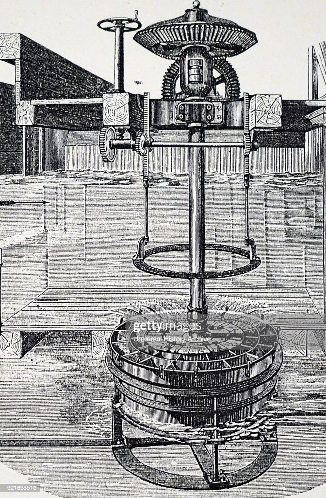 Engraving depicting Segur's inflow water turbine or 'vortex wheel'. Dated 19th century.