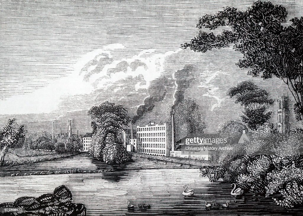 Engraving depicting Sir Thomas Lombe's silk mill on the river Derwent at Derby. This was the first water-powered textile mill in Britain (circa. 1720) and preceded Arkwright's by 50 years. Thomas Lombe (1685-1739) an English merchant and developer of machinery for silk throwing. Dated 19th century.