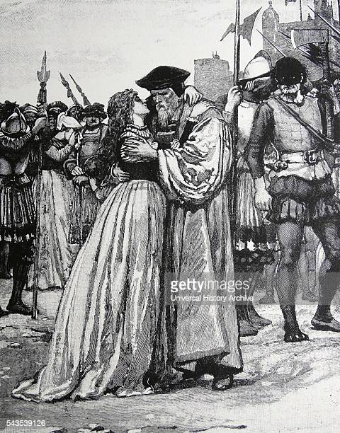 Engraving depicting Sir Thomas More and his daughter bidding him farewell before his execution Sir Thomas More an English lawyer social philosopher...