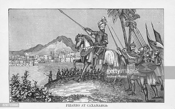 Engraving depicting Spanish Conquistador Francisco Pizarro leading his men to take Caxamarca Peru circa 1520