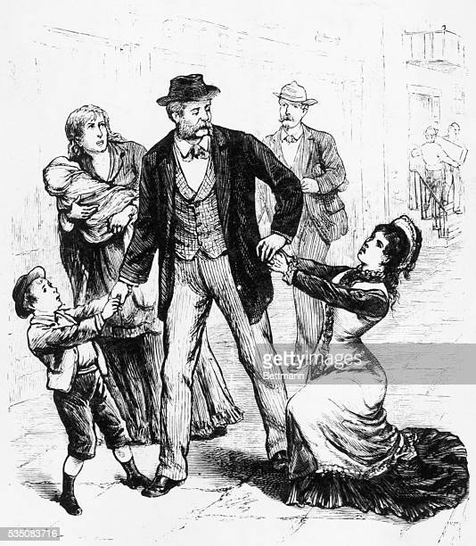 Engraving depicting the agonizing appeal of women and children in Memphis to an overworked physician to hasten to their homes From a series of images...