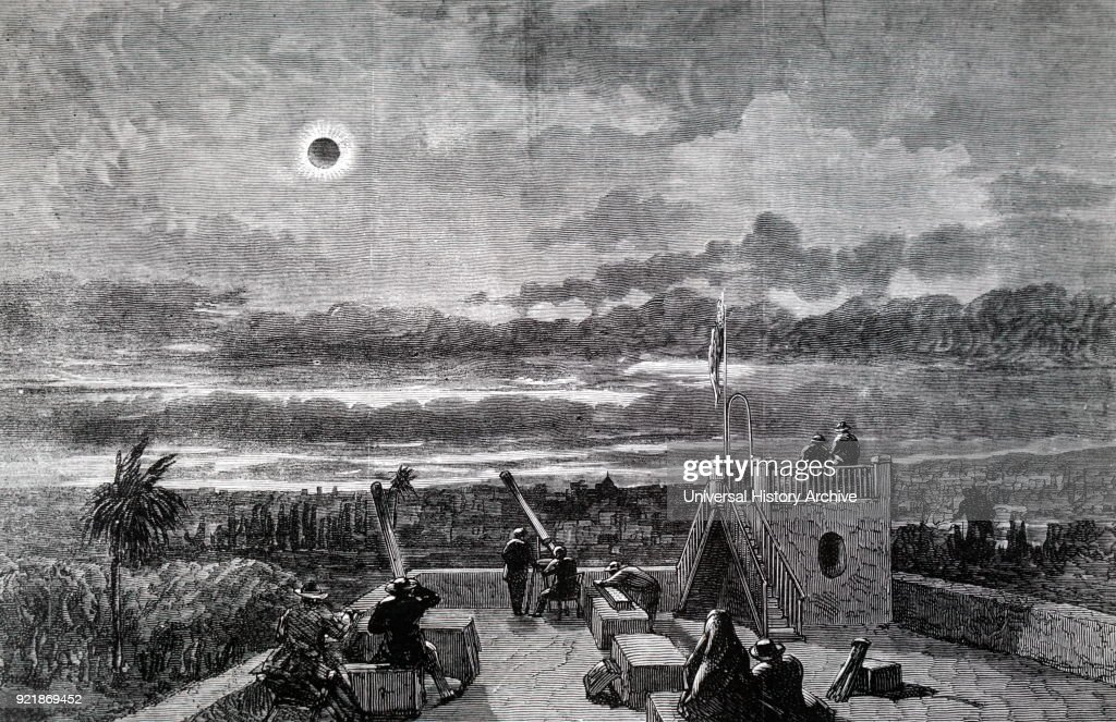 Engraving depicting the American expedition observing the total solar eclipse of 1870, from Xeres, San Antonio. Dated 19th century.