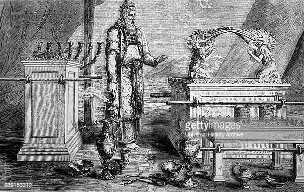 Engraving depicting the Ark of the Covenant a goldcovered wooden chest described in the Book of Exodus as containing the two stone tablets of the Ten...