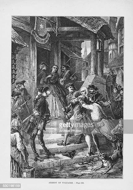 Engraving depicting the arrest of French writer Francois Marie Voltaire and imprisonment in the Bastille France circa 1752