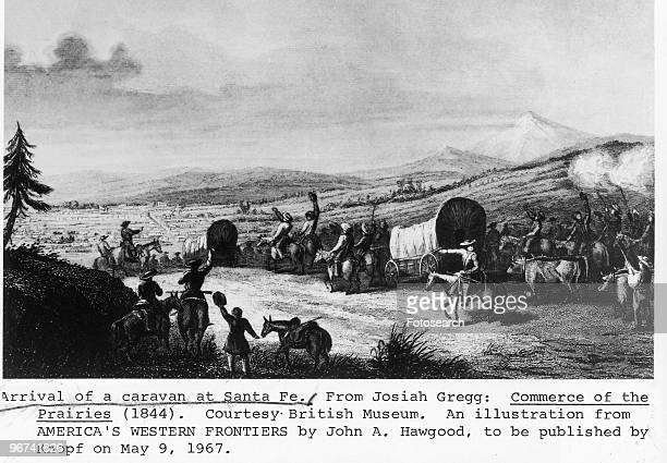 Engraving depicting 'the arrival of a caravan at Santa Fe' taken from 'Commerce of the Prairies' by Josiah Gregg New Mexico USA circa 1844