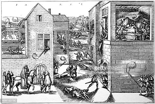 Engraving depicting the assassination of Gaspard II de Coligny a French nobleman and admiral during the St Bartholomew's Day Massacre Dated 16th...