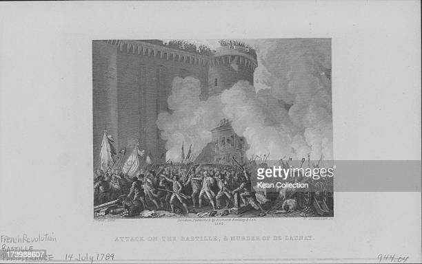 Engraving depicting the attack on the Bastille and the murder of Delaunay 1789