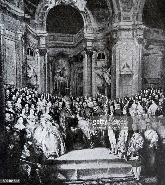 Engraving depicting the baptism of King Alfonso XII of Spain . Dated 19th Century.