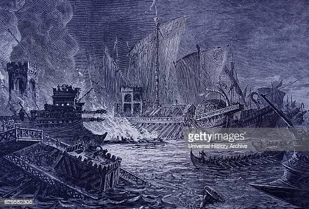 Engraving depicting the Battle of Actium the decisive confrontation of the Final War of the Roman Republic a naval engagement between Octavian and...