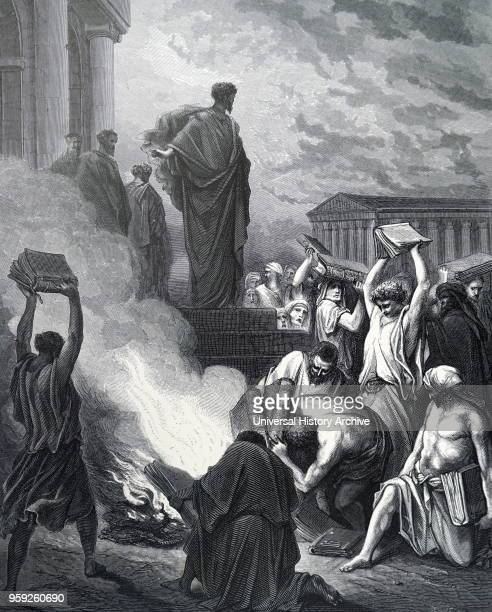 Engraving depicting the Book burning at Ephesus an incident recorded in the Book of Acts in which Christian converts at Ephesus influenced by Saint...