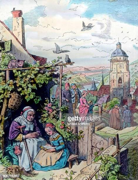 Engraving depicting the care of the elderly Germany 1920s