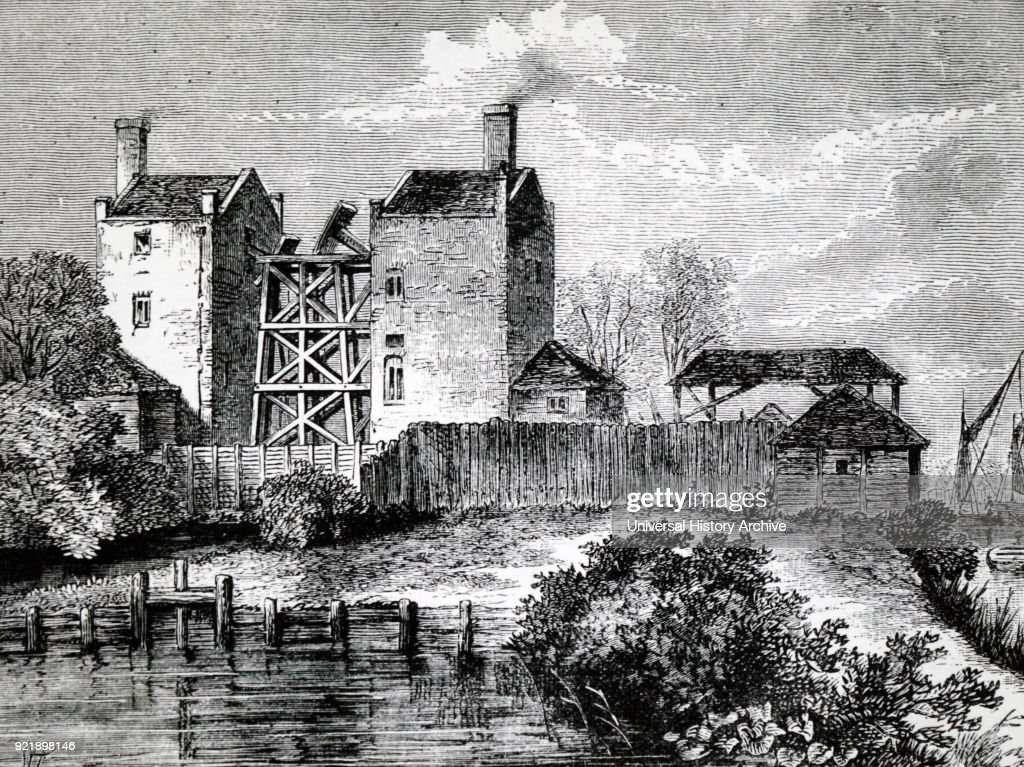 Engraving depicting the Chelsea Waterworks in 1750, showing the engine house and one end of the beam of the steam engine. Dated 19th century.