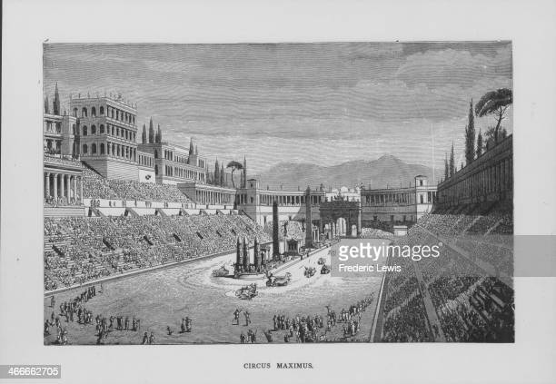 Engraving depicting the Circus Maximus, the chariot racing theater in Ancient Rome, circa 450-500 BC.