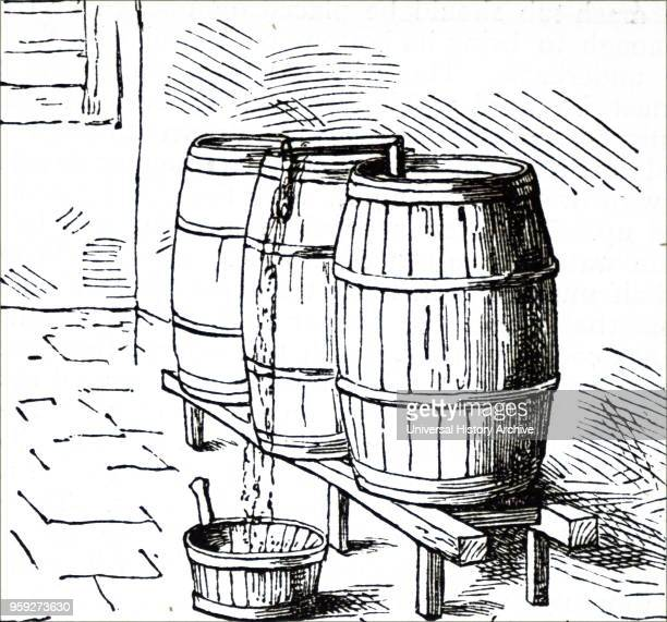 Engraving depicting the cleansing of beer cleaning after primary fermentation Dated 19th century