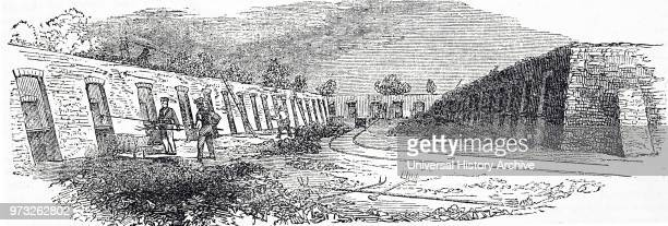 Engraving depicting the coke ovens producing fuel for the Butterly Ironworks Derbyshire Dated 19th century