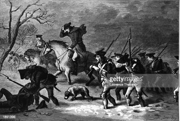 Engraving depicting the Colonial troops marching to Valley Forge Pennsylvania during the American Revolutionary War 1777