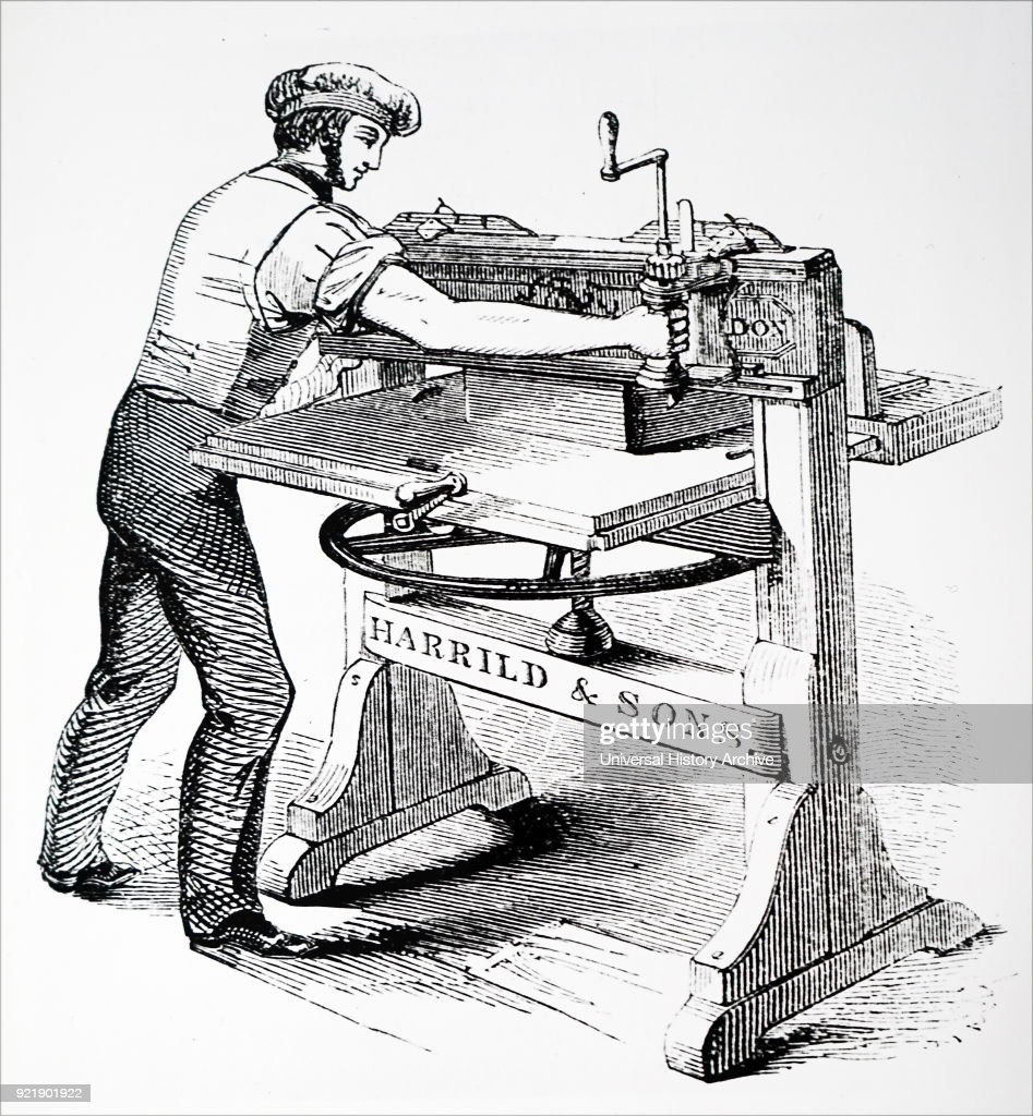 The Columbian hand printing press, invented by George Clymer. : News Photo