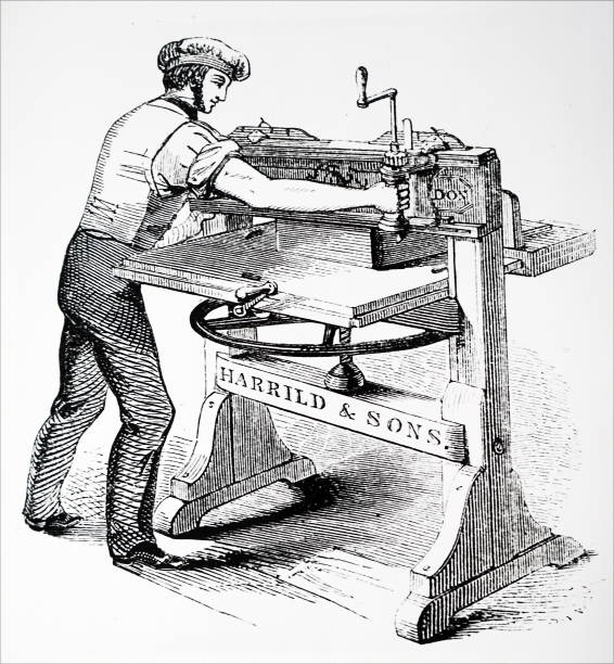 Engraving Depicting The Columbian Hand Printing Press Invented By George Clymer Power Was Applied