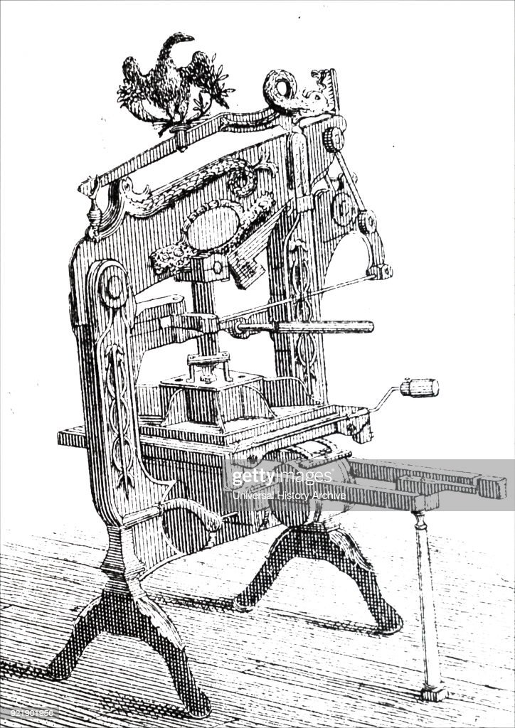 Engraving depicting the Columbian hand printing press, invented by George Clymer. Power was applied to the plate by means of a compound lever. George Clymer (1739-1813) an American politician, inventor, and Found Father of the United States. Dated 19th century.