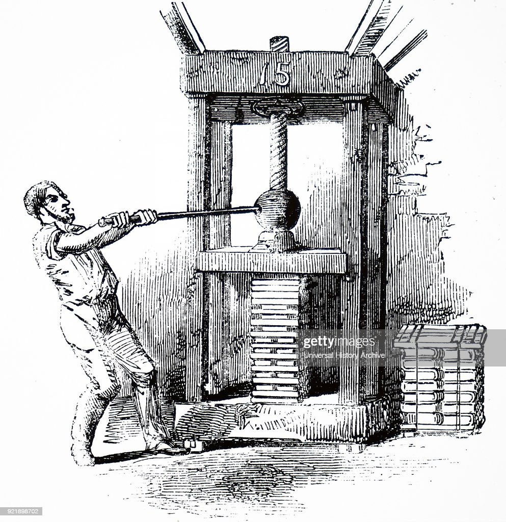 Engraving depicting the compression of printed sheets in a manual press prior to binding. Dated 19th century.