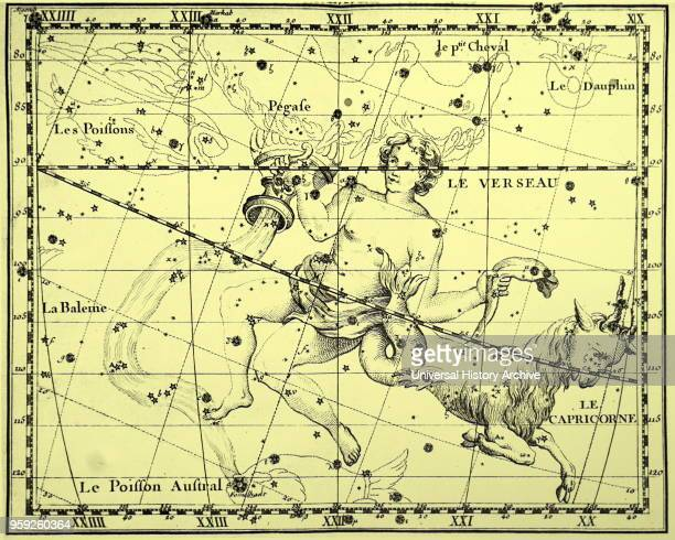 Engraving depicting the constellations of Aquarius and Capricorn both constellations of the Zodiac Dated 18th century