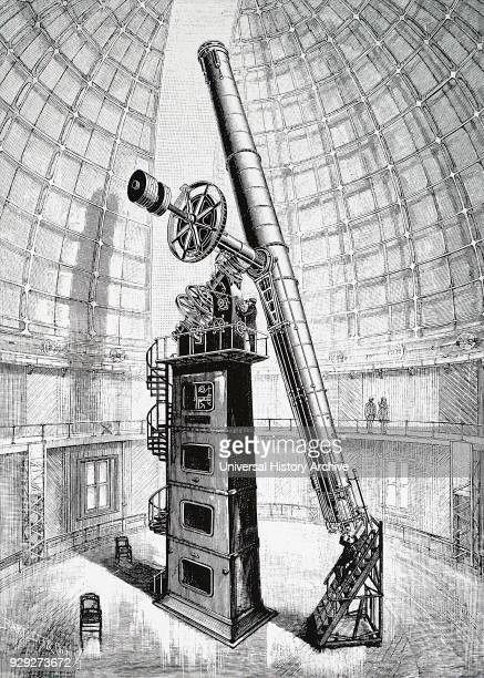Engraving depicting the Crossley telescope a 36inch reflecting telescope located at Lick Observatory California given to the observatory in 1895 by...