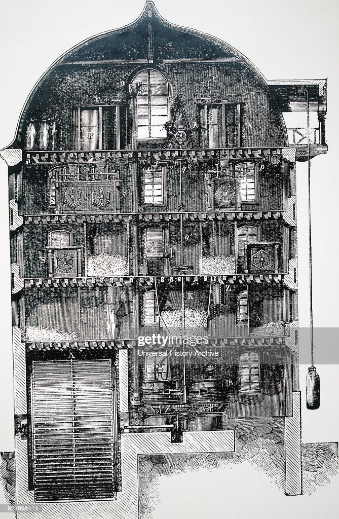 The cross-section of a flour mill. : News Photo