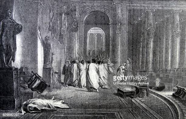 Engraving depicting the death of Julius Caesar Gaius Julius Caesar was a Roman statesman general and notable author of Latin prose