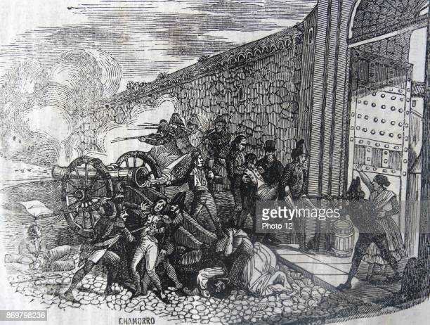 Engraving depicting the death of Luis Daoiz y Torres Spanish artillery officer and one of the leaders of the Dos de Mayo Uprising that signalled the...