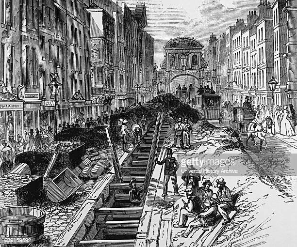 Engraving depicting the Deeping of the Fleet Street sewer near Temple Street Dated 19th Century