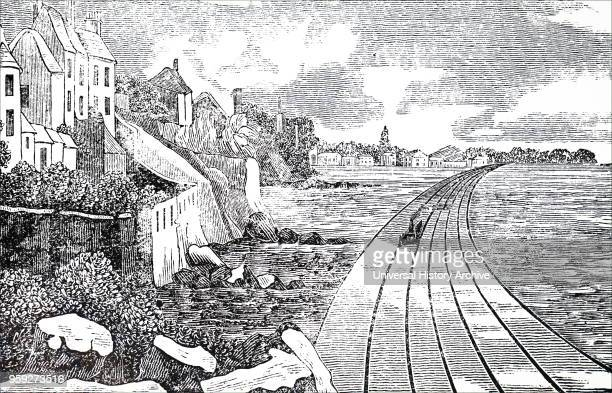 Engraving depicting the Dublin to Kingstown Railway Line as seen from Blackrock Ireland Dated 19th century