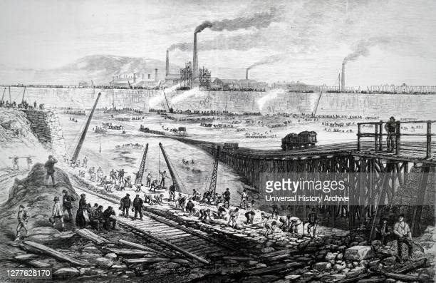 Engraving depicting the East Dock, Swansea, during the course of its construction. The enlarged docks were necessary because of the growth of the...