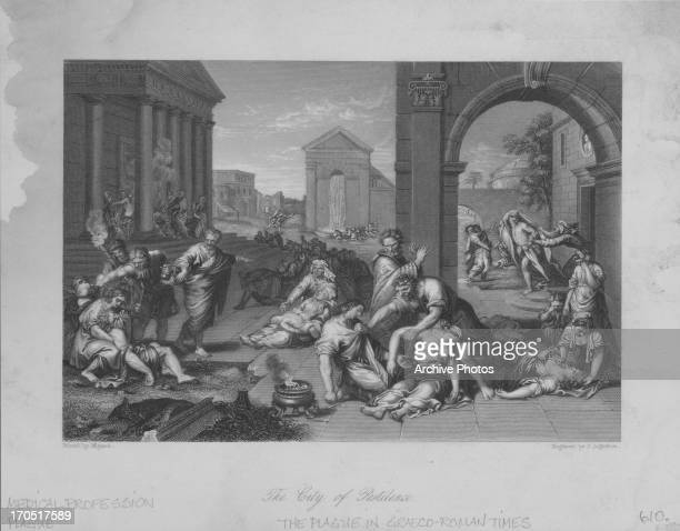 Engraving depicting the effects of the plague in Greco-Roman times in 'The city of pestilence', as illness sweeps through a city.