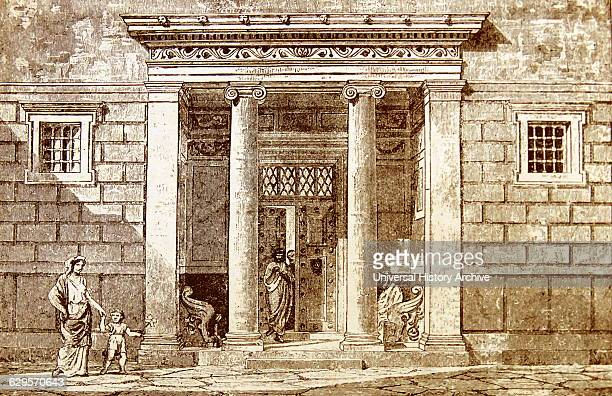 Engraving depicting the entrance to a nobleman's house in Athens