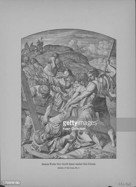 Engraving depicting the execution of Jesus Jesus falls for the third time by the pressure of his cross and is dragged back up by Roman Soldiers