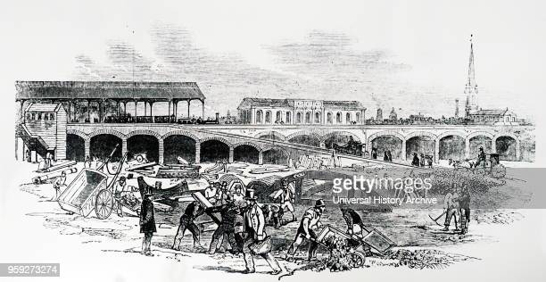 Engraving depicting the extension of the South Western Railway to Waterloo Bridge Waterloo Station York Road London The line was laid out by Joseph...