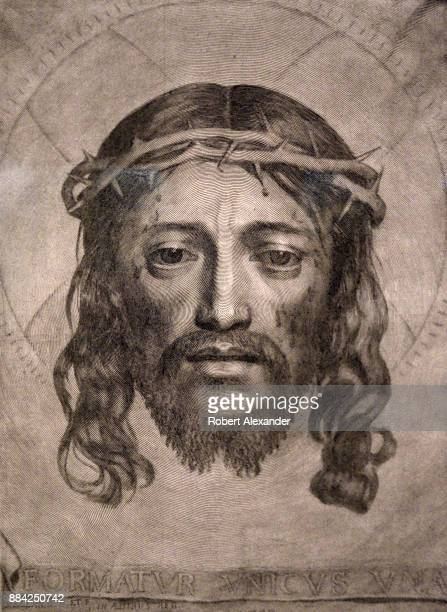 A engraving depicting the face of Christ printed in 1649 at the British Museum in London England The engraving by Claude Mellan is titled 'The Veil...