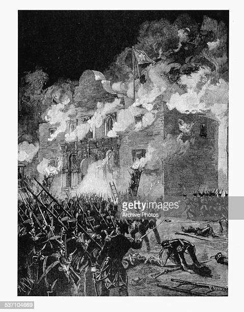 Engraving depicting the Fall of the Alamo during the Texas Revolution San Antonio Texas March 1836