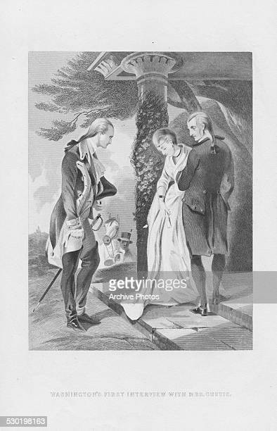 Engraving depicting the first meeting of George Washington and widow Martha Custis his future wife circa 1759