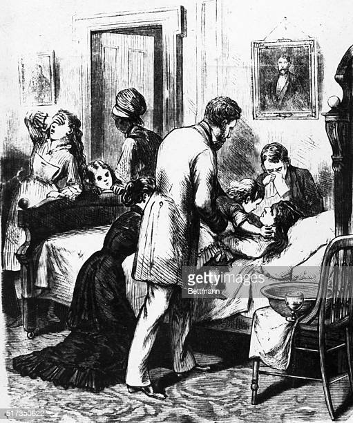 Engraving depicting the five children of Mrs Zonane of Memphis kissing their dying mother From a series of images entitled 'THE GREAT YELLOW FEVER...