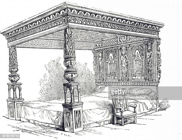 Engraving depicting the Great Bed of Ware an extremely large oak four poster bed carved with marquetry that was originally housed in the White Hart...