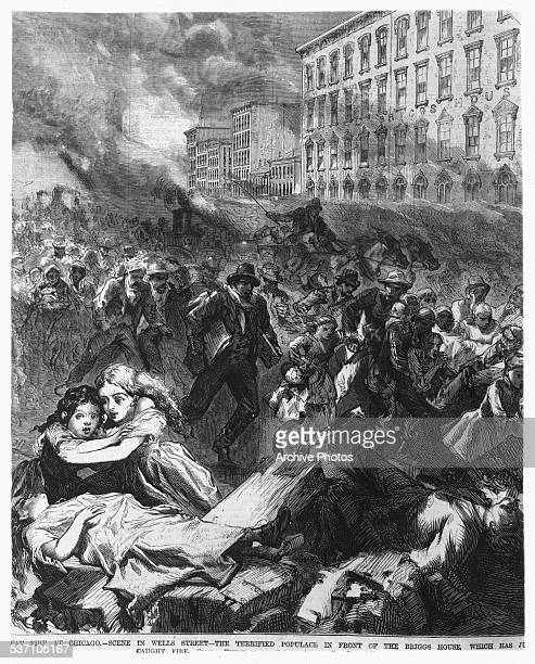 Engraving depicting the Great Chicago Fire, with people running for their lives from the flames, in front of the Biggs House on Wells Street,...