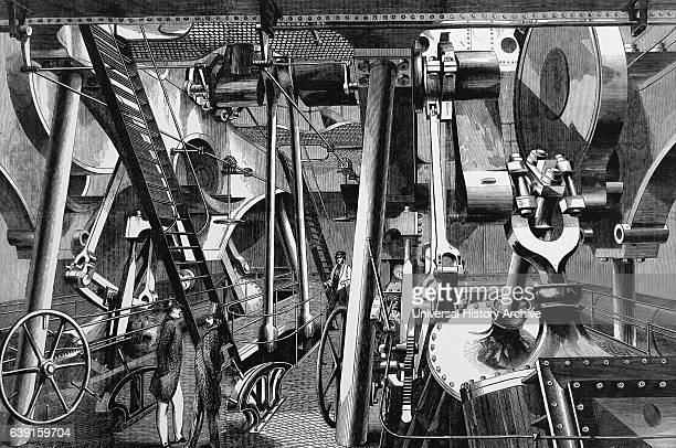 Engraving depicting the 'Great Eastern' used during the creation of the Atlantic Telegraph The intermediate paddle engine room Dated 19th Century