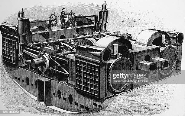 Engraving depicting the 'Great Eastern' used during the creation of the Atlantic Telegraph Showing the screw engine room Dated 19th Century